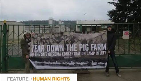 Blokáda prasečí farmy Lety u písku.
